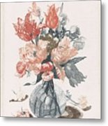 Five Prints With Flowers In Glass Vases, Anonymous, After Jean Baptiste Monnoyer, 1688 - 1698 Metal Print