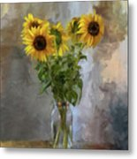 Five Sunflowers Centered Metal Print by Lois Bryan