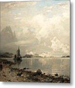 Fjord Landscape With Figures Metal Print