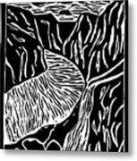 Fjord Norway - Limited Edition Linocut Print Metal Print