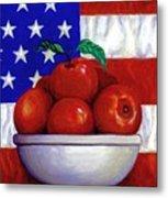 Flag And Apples Metal Print