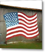 Flag And Barn - Painting Metal Print