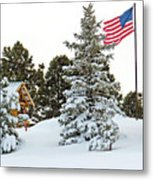 Flag And Snowy Pines Metal Print
