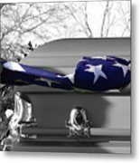 Flag For The Fallen - Selective Color Metal Print