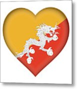 Flag Of Bhutan Heart Metal Print