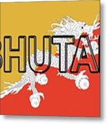 Flag Of Bhutan Word Metal Print