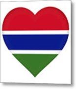 Flag Of Gambia Heart Metal Print