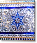 Flag Of Israel. Bead Embroidery With Crystals Metal Print
