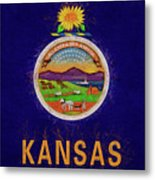 Flag Of Kansas Grunge Metal Print