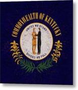 Flag Of Kentucky Grunge Metal Print