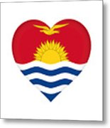Flag Of Kiribati Heart Metal Print