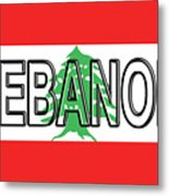 Flag Of Lebanon Word Metal Print