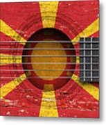 Flag Of Macedonia On An Old Vintage Acoustic Guitar Metal Print
