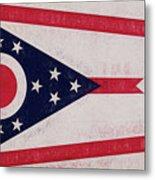Flag Of Ohio Grunge Metal Print