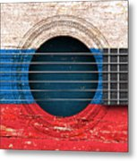 Flag Of Russia On An Old Vintage Acoustic Guitar Metal Print