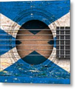 Flag Of Scotland On An Old Vintage Acoustic Guitar Metal Print