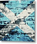 flag of Scotland painted on old brick wall Metal Print