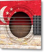 Flag Of Singapore On An Old Vintage Acoustic Guitar Metal Print