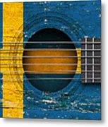 Flag Of Sweden On An Old Vintage Acoustic Guitar Metal Print