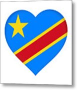 Flag Of The Congo Heart Metal Print
