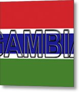 Flag Of The Gambia Word. Metal Print