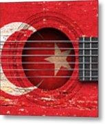 Flag Of Turkey On An Old Vintage Acoustic Guitar Metal Print