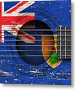 Flag Of Turks And Caicos On An Old Vintage Acoustic Guitar Metal Print