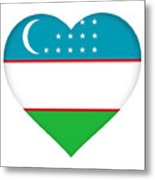 Flag Of Uzbekistan Heart Metal Print