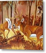 Flagging Deer Metal Print