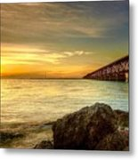 Flagler Bridge At Sunset Metal Print