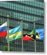 Flags Of Various Nations Outside The United Nations Building. Metal Print