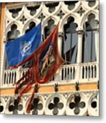 Flags On Palazzo In Venice Metal Print