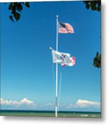Flags On The Shoreline Metal Print