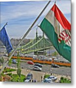 Flags Over Budapest Metal Print