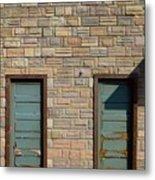Flagstone Wall And Two Green Doors Metal Print