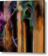 Flame Flower And Bamboo Metal Print