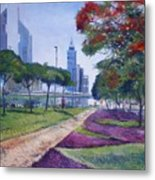 Flame Of The Forest Trees Along Sheikh Zayed Road Dubai Uae 2002  Metal Print