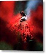 Flamenco Dancer In Red Metal Print