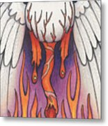 Flaming Flying Eyeball Metal Print