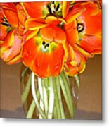 Flaming Tulips In A Vase Metal Print