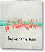 Flamingo Art II Metal Print