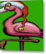 Flamingo Christmas Metal Print