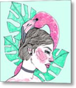 Flamingo Girl Metal Print