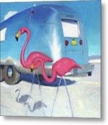 Flamingo Migration Metal Print