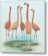Flamingo Mingle Metal Print