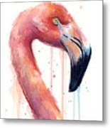 Flamingo Painting Watercolor - Facing Right Metal Print