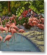 Flamingos Vintage Postcard Metal Print