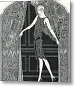 Flapper Opening A Curtain Metal Print