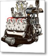 Flat Head V 8 Engine Metal Print