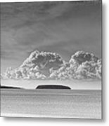 Flat Holm And Steep Holm Mono Metal Print